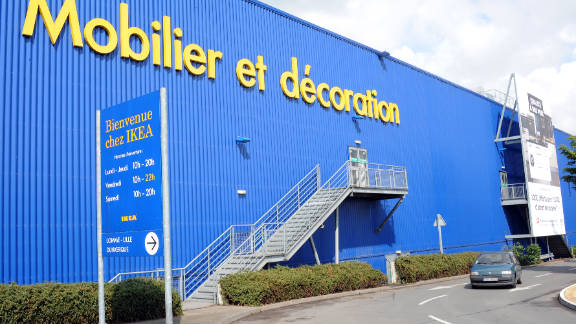 A car passes next to an Ikea store on May 31, 2011 in Lomme, next Lille, northern France.