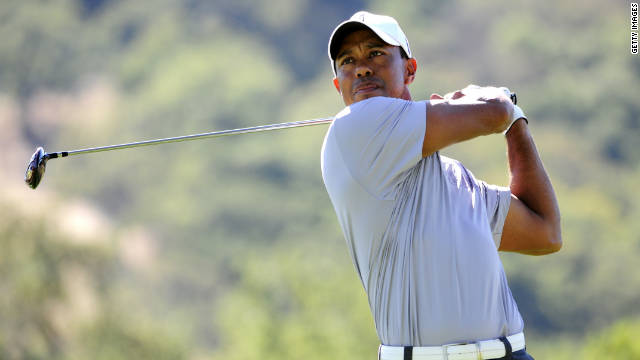 Tiger Woods makes a tee shot on the ninth hole during his second round at the CordeValle Golf Club.