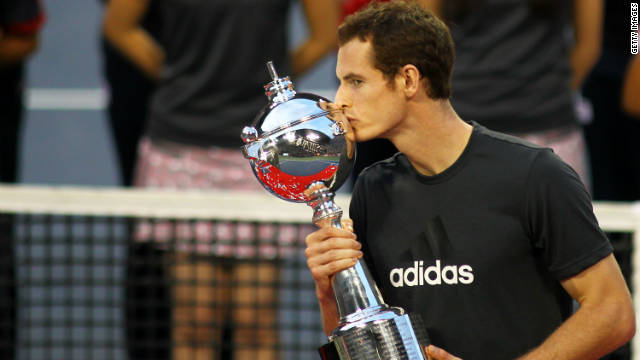 Andy Murray celebrates beating Rafael Nadal for his fourth ATP Tour title of the season