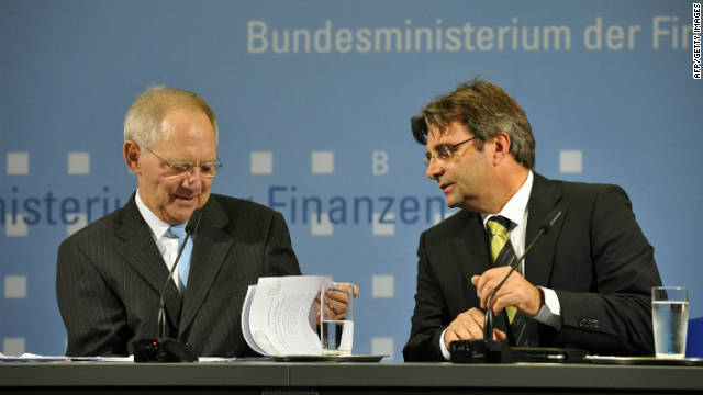German Finance Minister Wolfgang Schaeuble with spokesman Michael Offer on November 4, 2010. Offer resigned five days later after a public dressing-down.