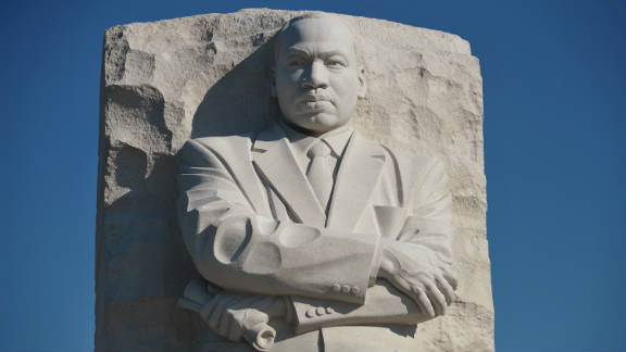 """The """"Stone of Hope"""" sculpture by Chinese artist Lei Yixin at the Martin Luther King Jr. National Memorial in Washington."""