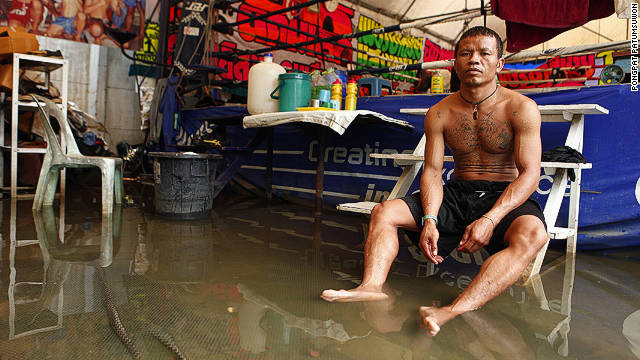 Bangkok Muay Thai fighter Jaroensak Sorwapin says his gym has been dealing with floods for about a month.