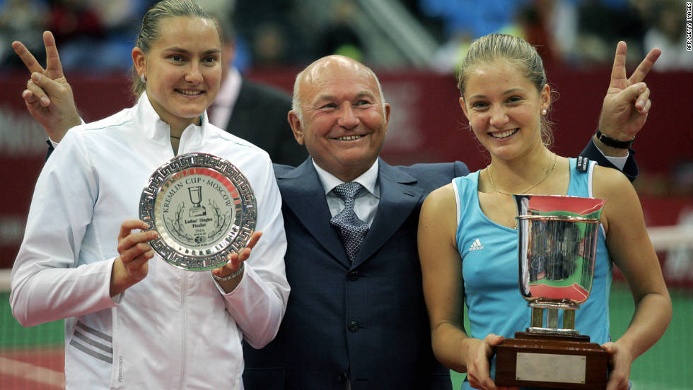 She won her second of eight WTA Tour titles on home soil at the Kremlin Cup, beating compatriot Nadia Petrova in the final. Moscow's longtime mayor Yuri Luzhkov, who presided from 1992-2010, helped them celebrate.