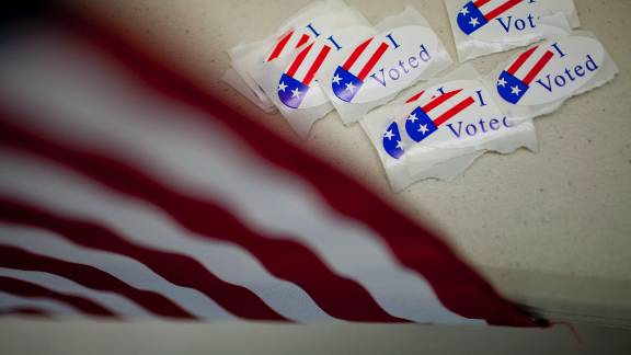 """""""I Voted"""" stickers are shown on a polling place table November 2, 2010 at St. Luke's Lutheran Church in Reno, Nevada."""