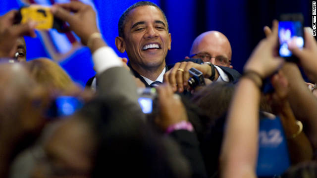 President Barack Obama greets supporters during a Democratic campaign fundraiser this week in Orlando.