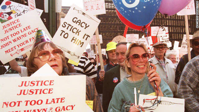 Demonstrators supporting the scheduled execution of  John Wayne Gacy rally in Chicago days before his 1994 execution.