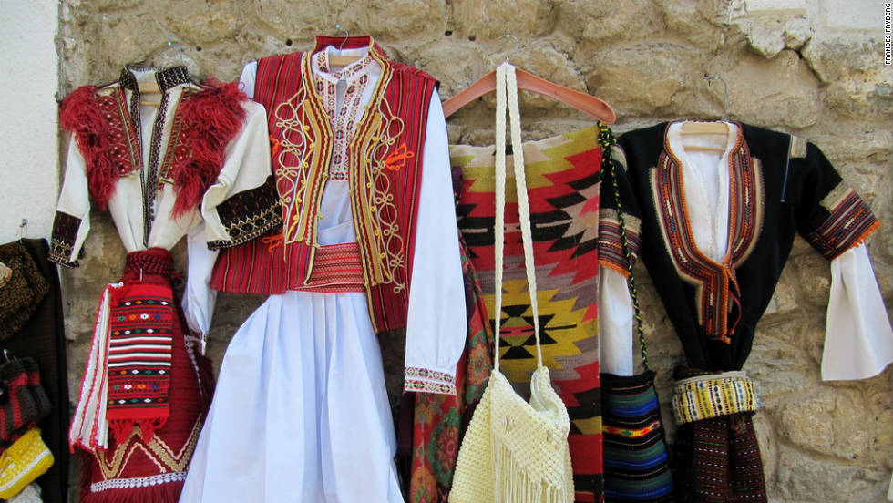 "This picture of traditional Macedonian clothing in a market near Lake Ohrid was one of Frances Fryberg's favourites from his trip to Macedonia in the summer of 2011. ""Macedonia was a beautiful country with rich history, interesting sights, friendly people and delicious food,"" he says."