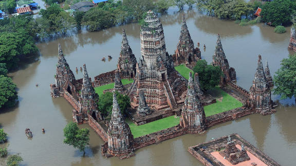 An aerial picture shows a flooded temple in the ancient Thai capital of Ayutthaya on October 11, 2011.