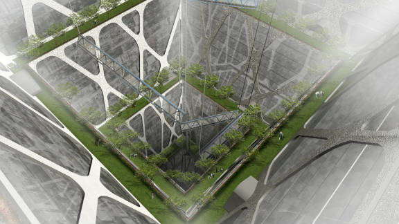 """A central void running throughout the inverted pyramid is intended to allow for natural light and ventilation. The plans include a series of """"earth lobbies"""" that would store plants and trees to in an effort to improve air quality."""