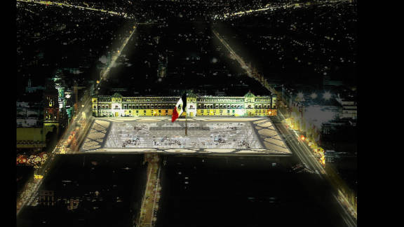 """A night-time view of Mexico City's central plaza, commonly known as the """"Zocalo,"""" re-envisaged to incorporate the """"Earthscraper."""""""