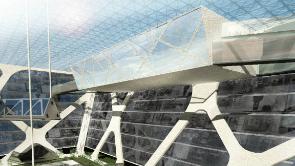 """Architect Edwardo Suarez envisages that the """"Earthscraper""""could be accessed directly from the underground metro, preventing congestion above ground."""