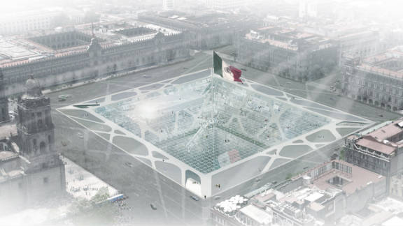"""The """"Earthscraper"""" would be located in the city's main square, and topped with an enormous Mexican flag."""