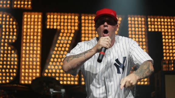 Fred Durst performs during a Limp Bizkit concert.