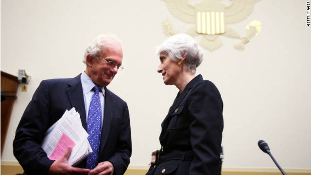 Rep. Howard Berman, left, and Wendy Sherman of the State Department chat before a hearing on U.S. policy options in Syria.