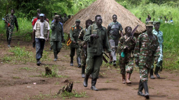 In 2008, dozens of Lord's Resistance Army fighters emerge from the southern Sudan's border.