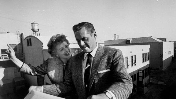 """The couple look over development plans for Desilu, their production company. Along with producing """"I Love Lucy,"""" Desilu produced the classics """"Star Trek,"""" """"The Untouchables"""" and """"Mission: Impossible."""""""