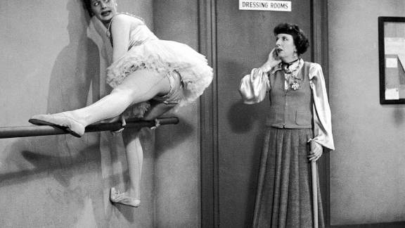 Madame Lemonde, played by Mary Wickes, looks bewildered as Lucy gets stuck on a ballet barre in the same episode. Ball, who starred in several films and musicals before the debut of her show, actually had dance experience.