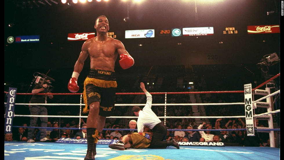 Bernard Hopkins became a world champion for the first time in 1995 when he defeated Segundo Mercado to claim the IBF Middleweight title. Hopkins is pictured here defending his belt against American Joe Lipsey in March 1996.