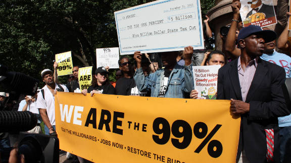 Occupy Wall Street supporters take part in the Park Avenue millionaires protest in New York on October 11.