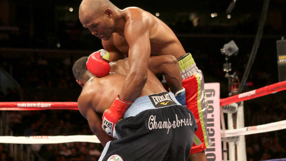 Bernard Hopkins (right) tangles with Chad Dawson during their light heavyweight title fight on October 15.