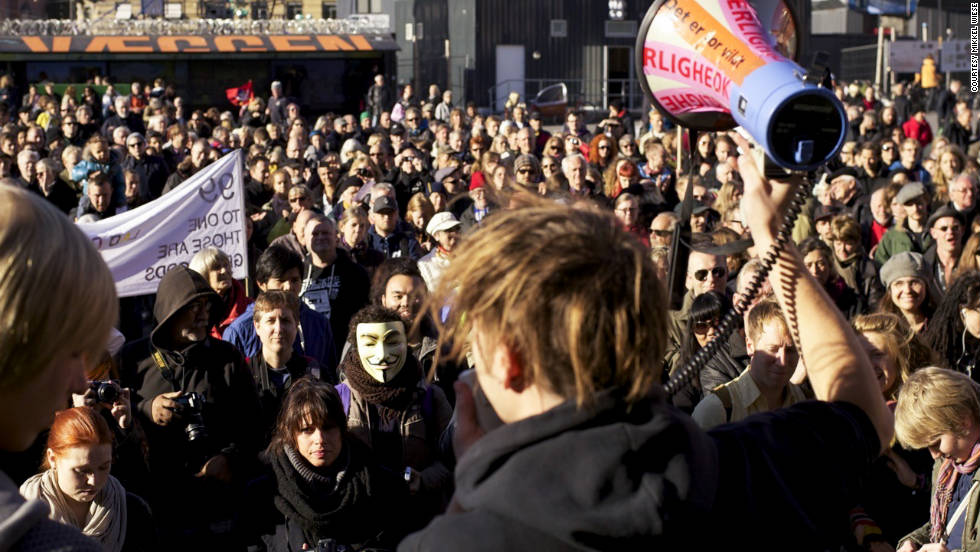 "A crowd of about 3,000 people joined for Occupy Denmark on Saturday, October 15. ""They want money spent on the 99 percent, and they want to take [money] not only from the rich but also from the expenses on wars,"" iReport contributor Mikkel Wiese said."