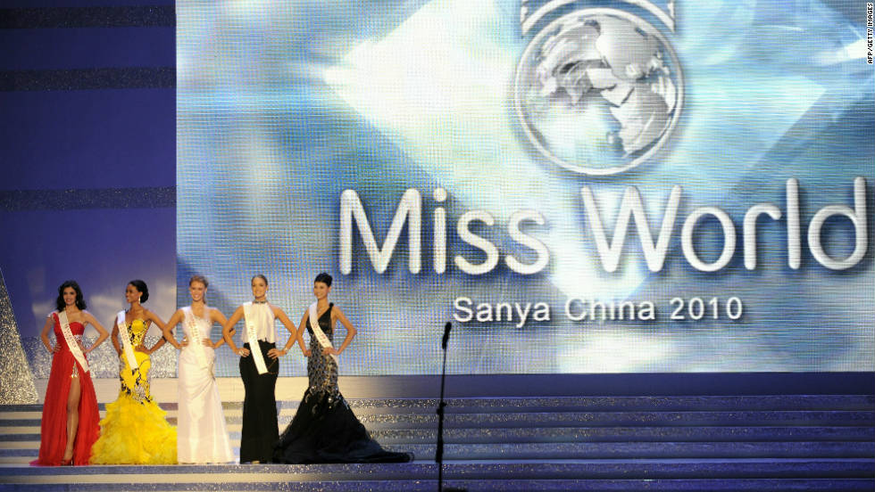 The Miss World 2010 Beauty Pageant finals at the Beauty Crown Theatre in the southern Chinese resort town of Sanya on October 30, 2010. Sanya has hosted the Miss World pageant five times in the past decade.