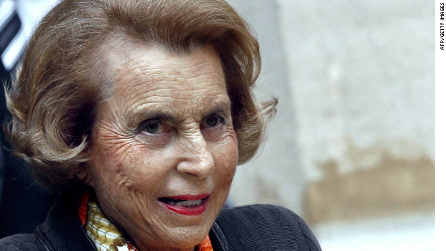 French L'Oreal heiress Liliane Bettencourt  shown leaving the Institut de France, in Paris.
