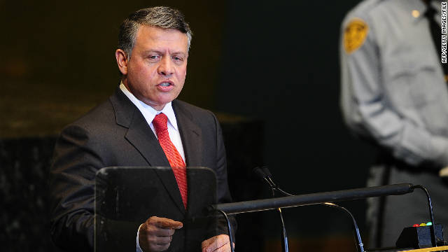 Jordan's King Abdullah II at the 66th UN General Assembly at the United Nations headquarters in New York, in September
