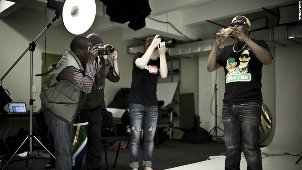 A team of young photographers shooting the cover with local music celebrities JR and Jack Parrow in Cape Town.