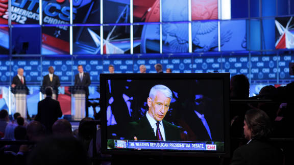 CNN's Anderson Cooper moderates at the Western Republican Debate.