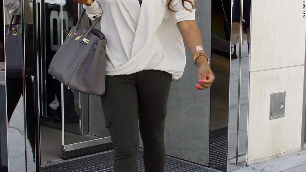 Christina Milian leaves a hotel in Los Angeles.
