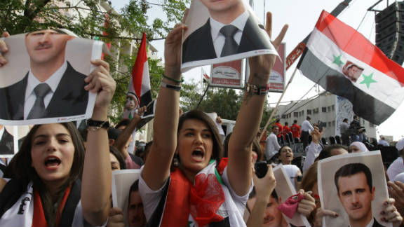 Supporters of Syrian President Bashar al-Assad stage a pro-regime rally in Damascus earlier this month.