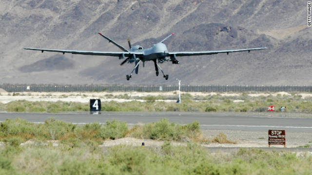 "An Air Force ""hunter-killer"" drone, the Reaper, takes off on a training mission at Creech Air Force Base in Nevada,"
