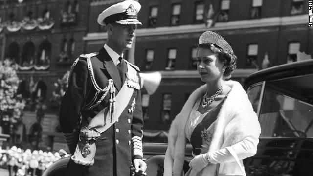 Queen Elizabeth II and the Duke of Edinburgh arrive at a State Opening of Parliament ceremony in Melbourne, Australia in 1954..