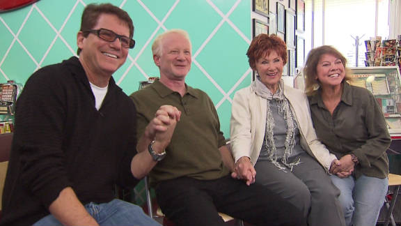 """""""Happy Days"""" stars Anson Williams, Don Most, Marion Ross and Erin Moran are suing CBS for merchandise money."""