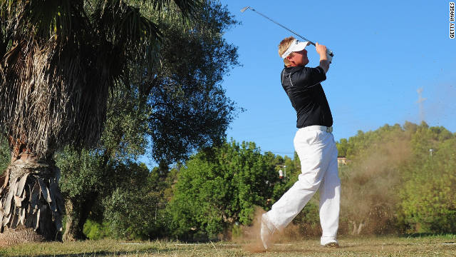 Ross McGowan plays a shot during the first round at the Club de Campo del Mediterraneo.