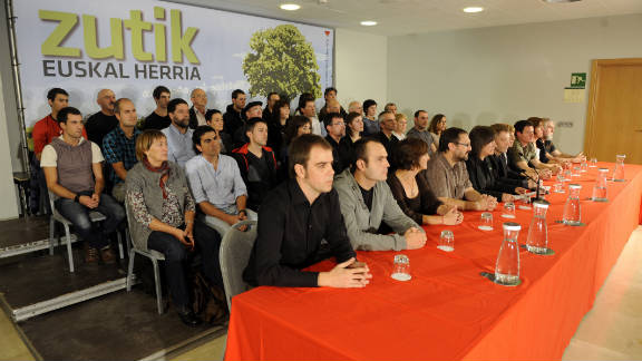 Members of the Basque Patriotic Left political organization attend a press conference on Tuesday.