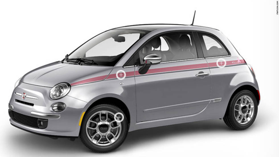 "Fiat 500 with pink ribbon decal body stripe from <a href=""http://www.fiatusa.com/en/pinkribbon/exterior/"" target=""_blank"">FiatUSA.com</a>"