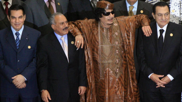 Moammar Gadhafi poses with Zine al-Abidine Ben Ali, Ali Abdullah Saleh and Hosni Mubarak at a summit on October 10, 2010.