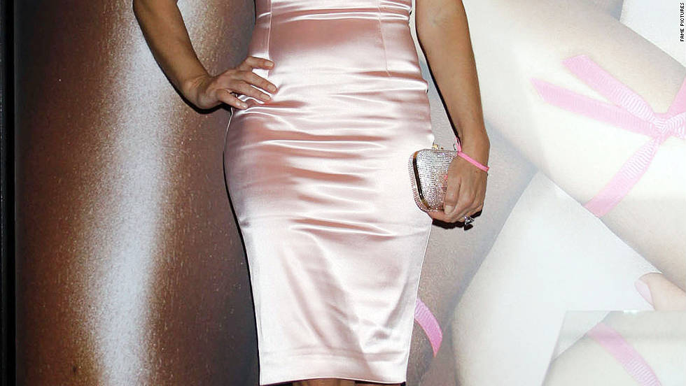 Elizabeth Hurley promotes breast cancer awareness in New York City.