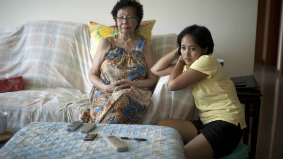"""In Singapore, many domestic workers are employed to care for elderly relatives, as well as young children. """"The key reason why we need them is because there are no affordable childcare services and no affordable elderly daycare services,"""" says Vincent Wijeysingha from TWC2."""