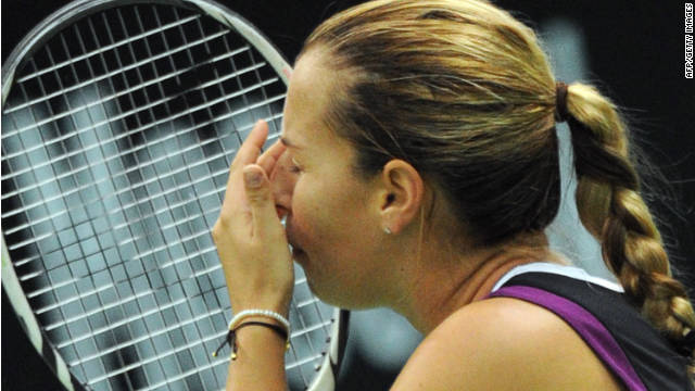 Dominika Cibulkova shows her emotion after sealing victory in the Kremlin Cup final