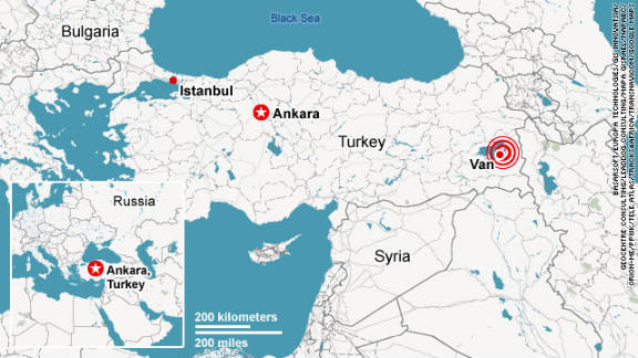 Turkey map of quake zone