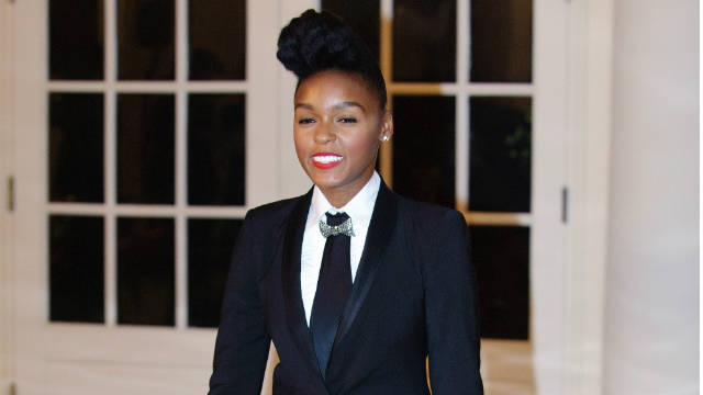 Singer Janelle Monae in her trademark black and white.