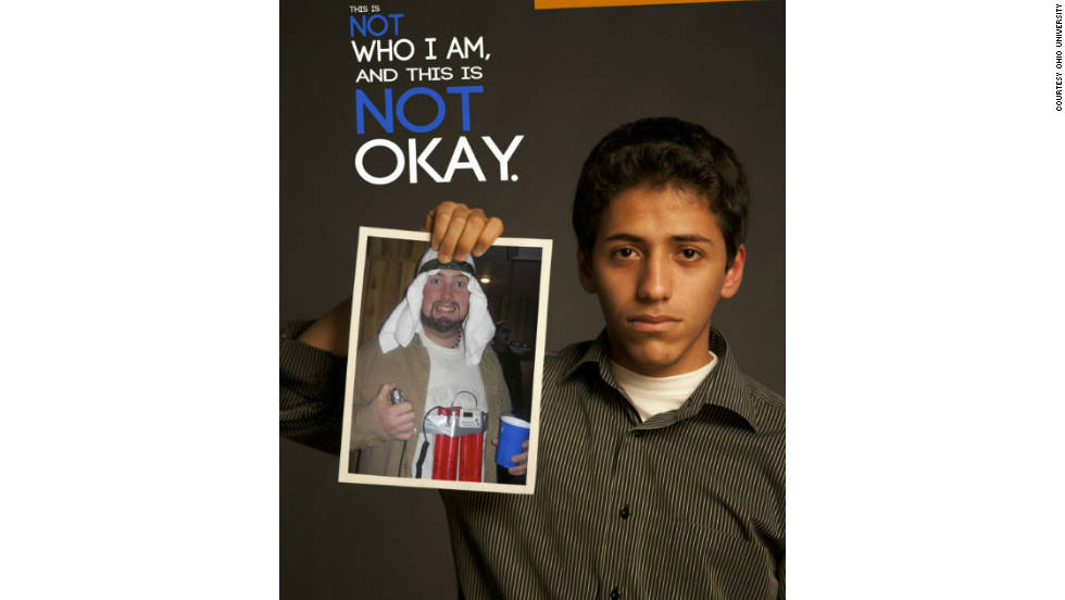 Students at Ohio University have launched a campaign as part of an effort to prevent cultures from being translated into stereotypical costumes. These posters represent some of the offensive costumes and the cultures they affect.