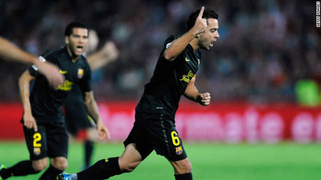 Xavi Hernandez thundered home a first half free kick to give Barcelona their victory