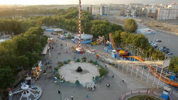 An aerial view of Tehran's Eram Park.