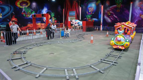A children's train ride at the Velayat theme park.
