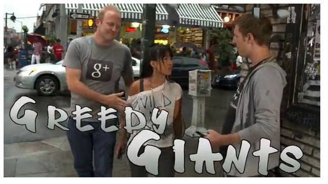 "In a promo video, Unthink dubs a Google rep and a Mark Zuckerberg look-alike ""greedy giants."""
