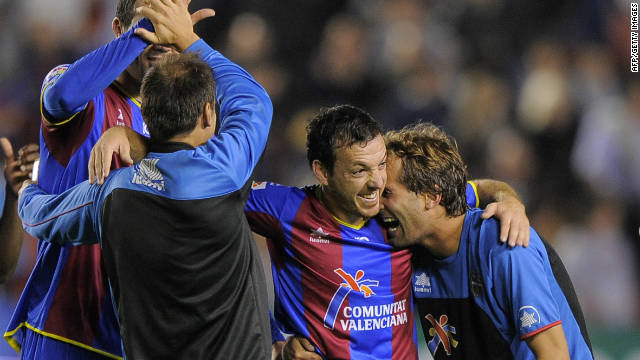 Ruben Suarez celebrates after his goal ensures that Levante stay top of Spain's La Liga
